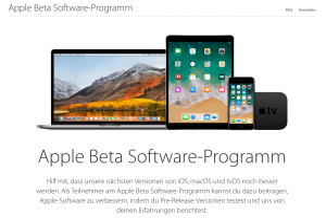 Beta von macOS High Sierra, iOS 11 und tvOS 11